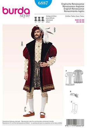 Burda Schnittmuster - 6887 - Herren Kostüm Englische Renaissance