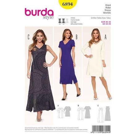 Burda Schnittmuster - 6894 - Kleid – Teilungsnähte und V-Ausschnitt