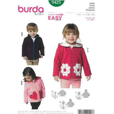 Burda Schnittmuster - 9425 - Kinder Jacke, Kapuzenjacke