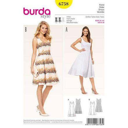 Burda Schnittmuster - 6758 - Damen Kleid mit Saumblende
