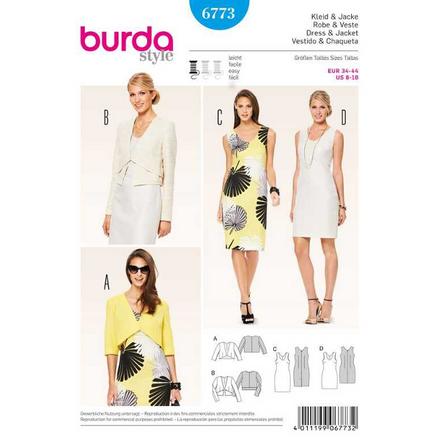 Burda Schnittmuster - 6773 - Kleid – ärmellos, Jacke