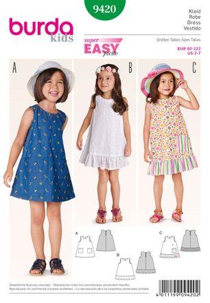 Burda Schnittmuster - 9420 - Kinder Kleid