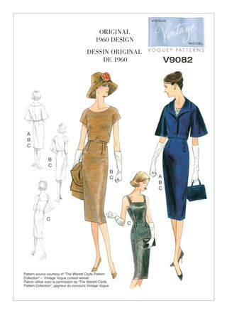 Vogue Schnittmuster V9082 - Damen - Retrokleid