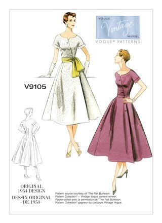 Vogue Schnittmuster V9105 - Damen - Retrokleid der 1950er Jahre