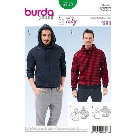 Burda Schnittmuster - 6718 - Herren Sweater - Hoody