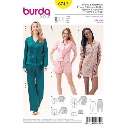 Burda Schnittmuster - 6742 - Damen Pyjama, Nachthemd
