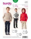 Burda Schnittmuster - 9407 - Kinder Sweater, Pulli, Hoody 001