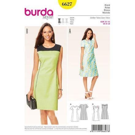 Burda Schnittmuster- 6627 - Kleid - leicht ausgestellt mit Teilungsnähten