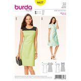 Burda Schnittmuster- 6627 - Kleid - leicht ausgestellt mit Teilungsnähten 001