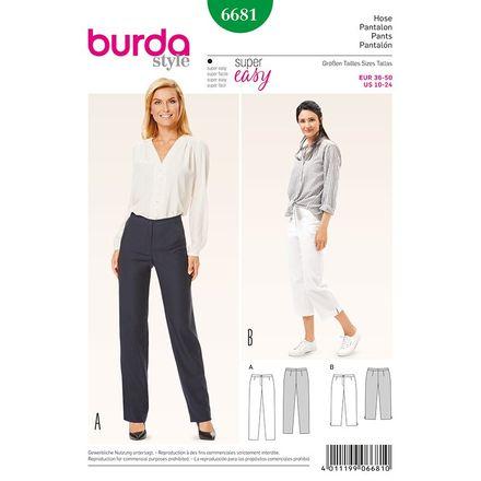 Burda Schnittmuster - 6681 - Damen Hose - 3/4 Hose - schmale Beine