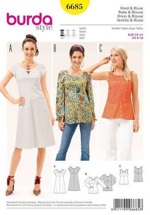 Burda Schnittmuster - 6685 - Kleid & Bluse