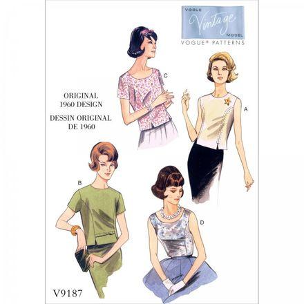 Vogue Schnittmuster V9187 - Damen - Vintage-Bluse der 1960er Jahre