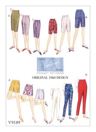 Vogue Schnittmuster V9189 - Damen - Vintage-Hose der 1960er Jahre