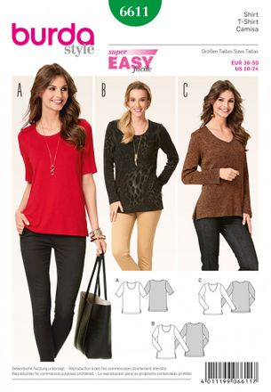 Burda Schnittmuster - 6611 - Damen Shirt, runder oder V-Ausschnitt