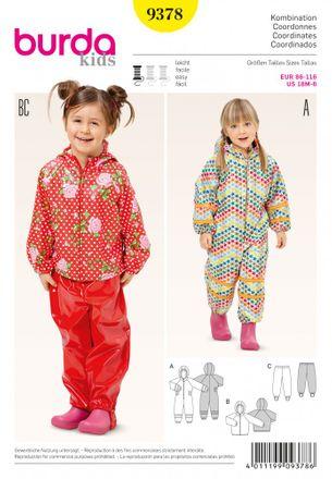 Burda Schnittmuster - 9378 - Kinder Overall - Anorak - Steghose