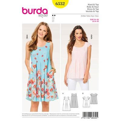 Burda Schnittmuster - 6532 - Kleid – Hängerkleid – Top