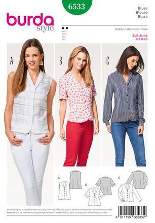 Burda Schnittmuster - 6533 - Damen Bluse mit Schalkragen