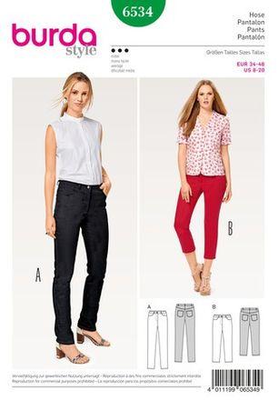 Burda Schnittmuster - 6534 - Damen Hose, Jeans, 3/4 Hose