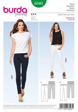 Burda Schnittmuster - 6543 - Damen Schmale Hose, Jeans