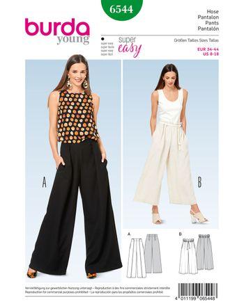 Burda Schnittmuster - 6544 - Damen Hose mit großzügiger Beinweite