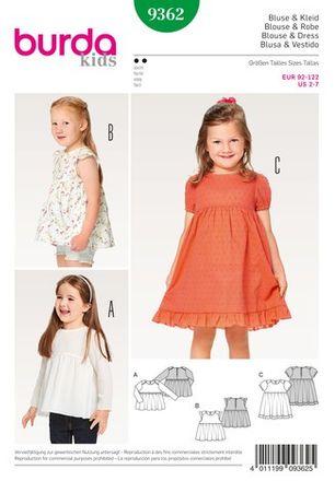 Burda Schnittmuster - 9362 - Kinder Bluse, Kleid