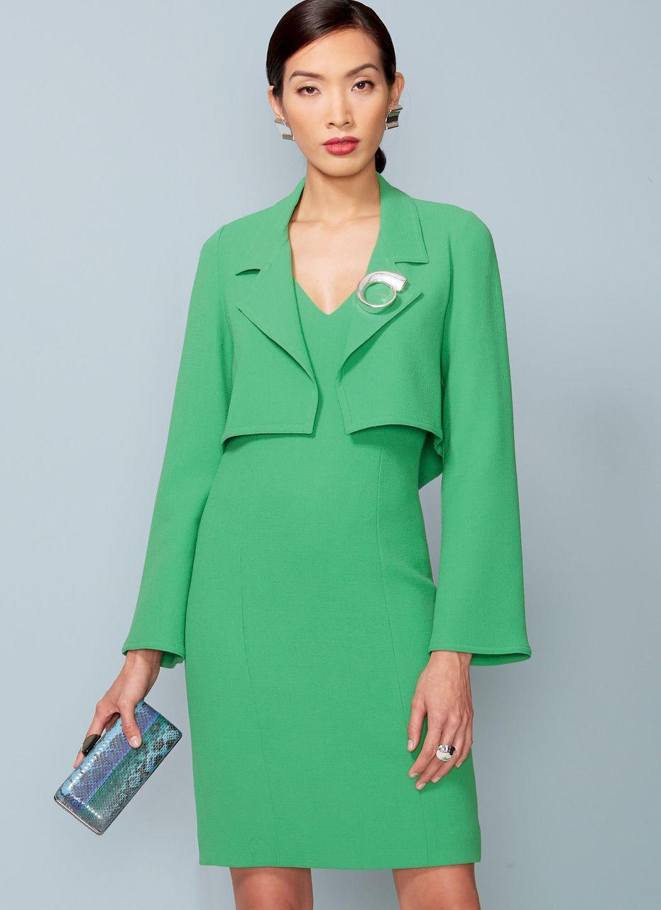 Vogue Schnittmuster V13 - Damen Kombination aus kurzer Jacke & Kleid