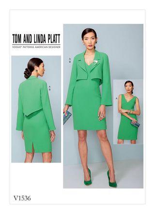 Vogue Schnittmuster V1536 - Damen Kombination aus kurzer Jacke & Kleid