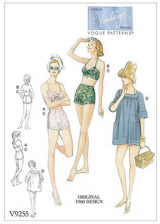 Vogue Schnittmuster V9255 - Damen - Retro-Bademode der 60er Jahre