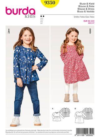 Burda Schnittmuster - 9350 - Kinder Bluse & Kleid