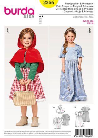 Burda Schnittmuster - 2356 - Kinder Kostüm Rotkäppchen & Prinzessin