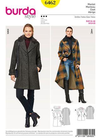 Burda Schnittmuster - 6462 - Damen Mantel