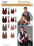 Simplicity Schnittmuster 7297 - Herren & Kinder Weste mit Krawatte 001