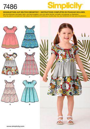Simplicity Schnittmuster 7486 - Kinder Kleid mit Ärmelvariationen