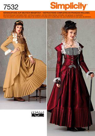Simplicity Schnittmuster 7532 - Damen Historisches, Steampunk Kostüm-Kleid