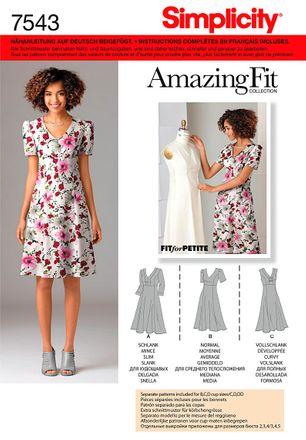Simplicity Schnittmuster 7543 - Damen Kleid für jede Figur