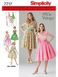 Simplicity Schnittmuster 7717 - Damen Vintage-Kleid 50er Jahre 001