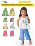 Simplicity Schnittmuster 7784 - Kinder Sommer-Kombination, Kleid, Hose & Shirt 001