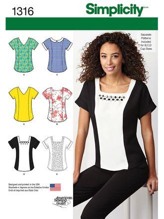 Simplicity Schnittmuster 7812 - Damen T-Shirt mit Ausschnitt-Varianten