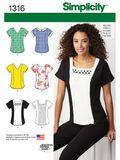 Simplicity Schnittmuster 7812 - Damen T-Shirt mit Ausschnitt-Varianten 001