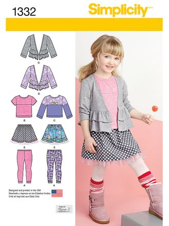 Simplicity Schnittmuster 7817 - Kinder Kombination, Jacke, Shirt, Rock & Leggings – Bild 1