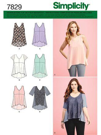 Simplicity Schnittmuster 7829 - Damen luftiges Sommer-Top & Shirt