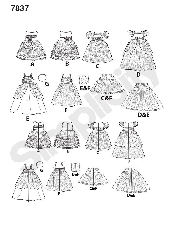 Simplicity 7837 Schnittmuster Puppen-Kleid SCHNITTE Schnittmuster ...