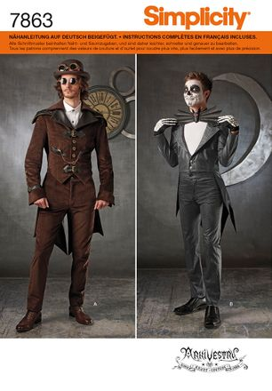 Simplicity Schnittmuster 7863 - Herren-Kostüm Steampunk, Halloween