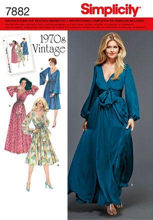 Simplicity Schnittmuster 7882 - Damen Vintage-Kleid der 1970er Jahre
