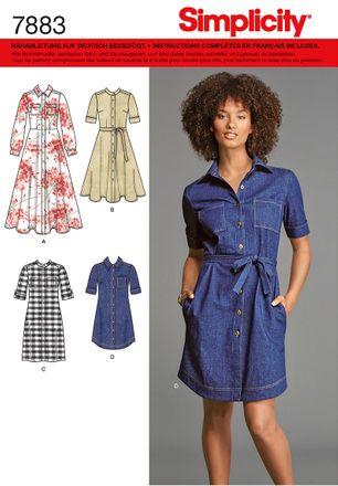 Simplicity Schnittmuster 7883 - Damen Hemdblusen-Kleid