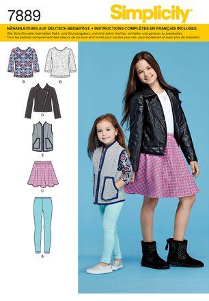 Simplicity Schnittmuster 7889 - Kinder Jacke, Weste, Shirt, Rock & Hose