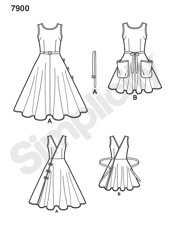 Simplicity Schnittmuster 7900 Damen Vintage Wickelkleid Der 50er Jahre Alfatex Webshop