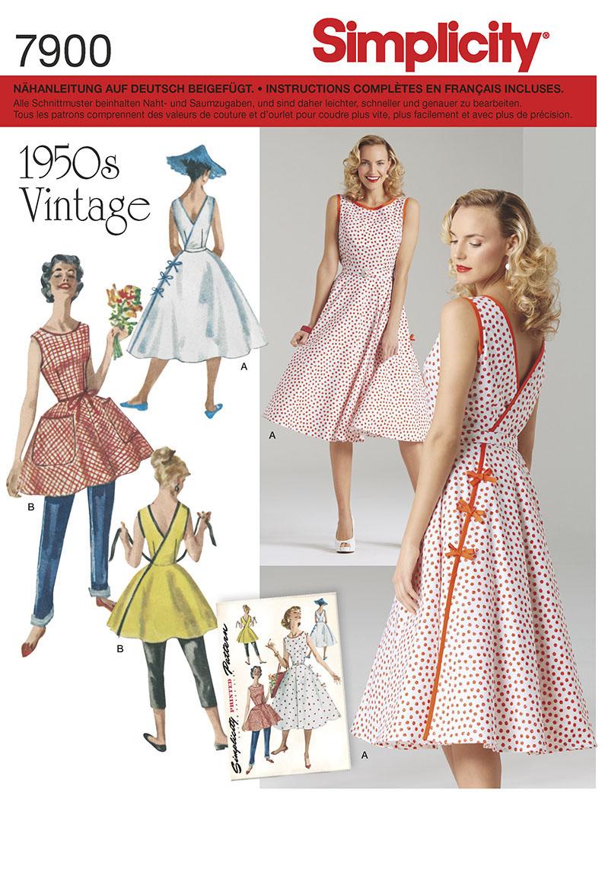 Simplicity 7900 Schnittmuster Vintage-Kleid 50er SCHNITTE ...
