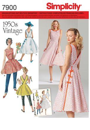 Simplicity Schnittmuster 7900 - Damen Vintage-Wickelkleid der 50er Jahre