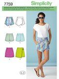 Simplicity Schnittmuster 7759 - Damen Shorts, Skort & Rock 001